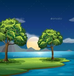 Buy Blue and Green Colors of Nature by interactimages on GraphicRiver. Illustration of the blue and green colors of nature Scenery Background, Book Background, Cartoon Background, Art Quilling, Quilled Paper Art, Drawing For Kids, Painting For Kids, Vinyl Photo Backdrops, Environment Painting