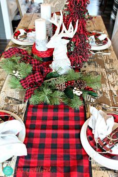 50 Affordable Christmas Table Centerpieces Ideas For Your Dining Room - Are you looking for Christmas table decoration ideas for your Christmas feasts? You need not worry because below are a couple of Christmas table decor. Buffalo Check Christmas Decor, Plaid Christmas, Rustic Christmas, Christmas Time, Christmas Wreaths, Christmas Decorations, Xmas, Cabin Christmas Decor, Christmas Ideas