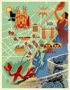 Map of Barcelona by Dieter Braun Illustration