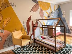 Quarto Colorido | lano Kids Room Murals, Bedroom Murals, Room Decor Bedroom, Baby Bedroom, Wall Painting Decor, Mural Wall Art, Wall Decor, Creative Wall Painting, Baby Room Design