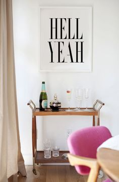 Hell Yeah Black & White Typography Print by lettersonlove