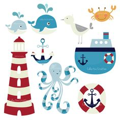 Nautical Themed Digital Clip Art Set by CollectiveCreation $4.99
