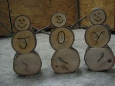 Picture of Homemade Wooden Log Snowmen