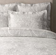 Italian Distressed Scroll Linen Duvet Cover