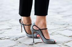 tweed peep toe pumps