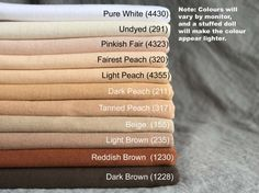 This listing is for heavy-weight single jersey - top quality Swiss-made waldorf doll making fabric. 100% Cotton. 1/2 meter (50cm/19) length by 165 cm (65) width Pure White and Undyed Natural are also available as 1/2 meter (50cm/19) length by 82.5cm (32.5) width - these colours are for specialty dolls (fairy dolls, art dolls, cosplay, movie props). The manufacturer has been making this doll skin for many decades and this skin is considered the preferred quality by many professional doll…