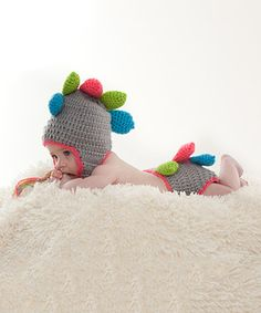 Look at this #zulilyfind! Gray & Blue Crochet Dinosaur Beanie #zulilyfinds