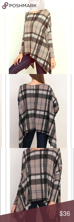 """Plaid Top This moca colored plaid oversized top is great for the season!  Flowy fit and shark bite hem.  Soft poly rayon blend.  32"""" body length ♥️no trades ❤️pricing firm unless bundled. Sweaters Shrugs & Ponchos"""