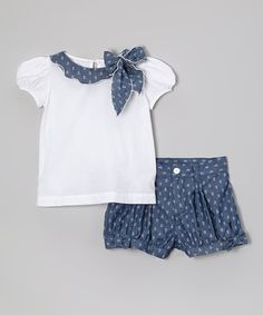 Love this White Cap-Sleeve Top & Navy Shorts - Infant, Toddler & Girls by Fantaisie Kids on Baby Girl Frocks, Frocks For Girls, Kids Frocks, Little Girl Dresses, Girls Dresses, Baby Girl Dress Patterns, Baby Dress, Pink Dress, Baby Girl Fashion
