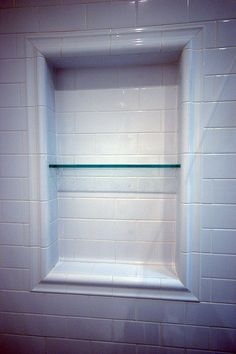 subway tile shower niche with glass shelf. What a great way to close in a window in your shower! :)subway tile shower niche with glass shelf. What a great way to close in a window in your shower! Tile Shower Niche, Subway Tile Showers, Bathroom Niche, Window In Shower, Bathroom Windows, Bathroom Renos, Bathroom Renovations, Small Bathroom, Bathroom Ideas