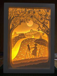 The Wind Rises paper cut Light box Night light Hayao by trysogodar