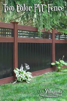 Incredible Rosewood and Black PVC Vinyl Privacy Fence with Square Lattice Topper from Illusions Vinyl Fence. The perfect fencing panel accent to any outdoor living space. #fenceideas