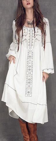 'Dreamer' Boho Style Embroidered Gypsy Gown Dress in White