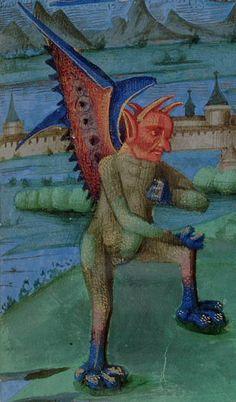 Demon harassing St. John. Detail from San Marino, Huntington Library, HM 01104 f.14 c.1400-1415