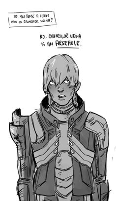 Cole from Dragon Age: Inquisition, commenting on Mass Effect 3 Councilor Udina.