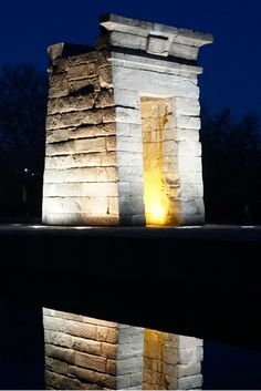 Templo de Debod in Madrid, Spain. Look at that reflection!! Gifted to Madrid from Egypt.