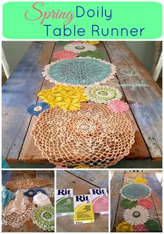 There's a doily table runner, and then there's a Spring table runner made from vintage doilies as country cottage decor. Great upcycling idea and tutorial! Sewing Projects, Craft Projects, Projects To Try, Craft Ideas, Home Crafts, Arts And Crafts, Diy Crafts, Shibori, Crochet Doilies