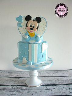 Geboortetaart Baby Mickey,blauw