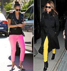 Hudson Nico Midrise Skinny in Lemon (right), 7 For All Mankind Cropped Skinny in Hot Neon Pink (left).