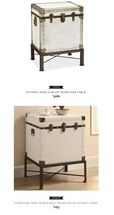 Pottery Barn Ludlow Trunk Side Table $499 vs Furniture Tent Traditional Trunk-Style Accent Chest $125