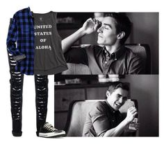 """Lukas"" by mad-die-hatter ❤ liked on Polyvore featuring Calvin Klein Underwear, Billabong, Converse, Lands' End, men's fashion and menswear"