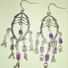"Amethyst Bali style earrings, 1.5"" #amethyst #balistyle #gypsyjewelry #silverjewelry #texasgirl #texasstyle #madeintexas #handcrafted #handcraftedjewelry #customjewelry #purplejewelry #earrings #dfwartist #dallasartist #amandanancedesigns"