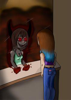 #Demon#Girl#Mirror#Inner Self#Halloween  #digital #art #hand drawing #Microsoft Pro 4