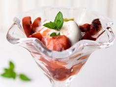 Grilled Fruit Sundaes with Strawberry Sauce.