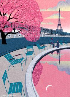 """Paris In The Spring"". Print by artist Ryo Takemasa. Japan Illustration, Graphic Design Illustration, Graphic Art, Art Graphique, Illustrations And Posters, Art Plastique, Cool Art, Concept Art, Art Paintings"