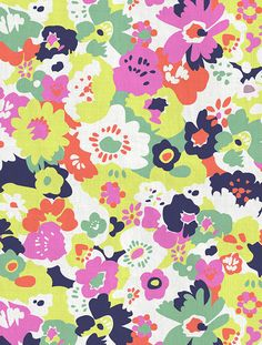 """wildflowers in """"calypso"""" - fabric + wallpaper by aimee wilder  (with embedded red hearts)"""