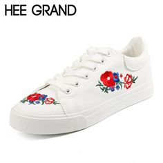 29859e96cc HEE GRAND 2017 Canvas Shoes Woman Platform Loafers Embroider Creepers  Spring Lace-Up Flats Casual Flowers Women Shoes XWF533