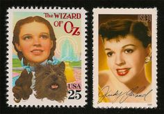 "This is a set of two genuine United States postage stamps commemorating the 1938 classic film, ""The Wizard of Oz"""