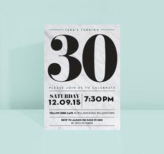 Elegant Marble Birthday Invite Modern Sophisticated Simple Mono Black and White Woman's Men's – invitation 30th Birthday Invitations, Party Invitations, Invites, Man Birthday, Birthday Cards, Birthday Design, Birthday Ideas, Lumberjack Party, Thank You Postcards