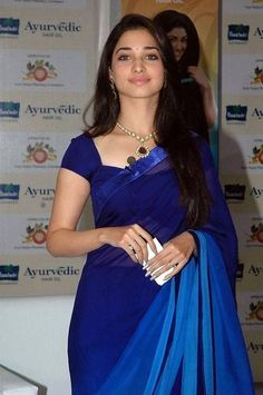 Tamanna Bhatia wearing Double Shaded Blue Chiffon Saree with Satin Border paired with same colour blouse. Chiffon Saree, Saree Dress, Indian Beauty Saree, Indian Sarees, Saris, Indian Dresses, Indian Outfits, Collection Eid, Sari Bluse