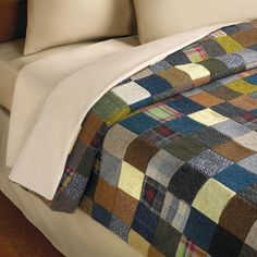 """The Genuine Irish Tweed Patchwork Quilt. Queen. 96"""" L x 90"""" W. (6 2/3 lbs.) Item 79264 Price $499.95. My mom made us kids these from our own clothes we wore as a kid"""