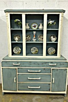 Distressed cabinet mint green and cream