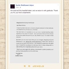 A great moment for K K Jewels! Kailash Kabra met Smt. Sunita Shekhawat recently - the reason he became a jewellery vizualizer - and it was magical. To express his eternal gratitude for inspiring him, he wrote her a letter and she posted it on Facebook & Instagram!!! We feel honored and humbled to be acknowledged by the Titan of my industry. You are our idol Ms. Shekhawat. #KKJewels #Ahmedabad #SunitaShekhwat