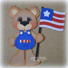 4 de julio oso preconfeccionados Scrapbooking adorno papel
