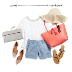 Summer Fridays - I love the shoes, shorts, hat, sunglasses, and bags with this look. The shirt is questionable.