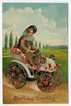 Divided Back Color Postcard Birthday Greetings Young Lady in an Early Automobile