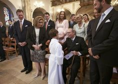 Luxarazzi: First Communion of Prince Gabriel of Luxembourg, May 23, 2014-inside the Église Saint-Michel-Prince Gabriel with front- grandparents Grand Duke Henri and Grand Duchess Maria Teresa, great-grandfather Grand Duke Jean, and uncle HGD Guillaume; second row-uncle Prince Felix and aunt Princess Claire, great-aunt Princess Marie Astrid and great-uncle Archduke Christian, with great-uncle Prince Guillaume and great-aunt Princess Sibilla behind