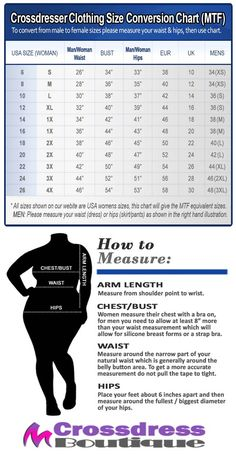 Crossdress Boutique - Crossdresser Clothing Size Guide Conversion Chart MTF | http://www.crossdressboutique.com/