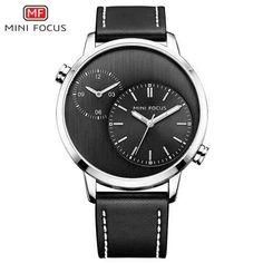 MINI FOCUS Fashion Cool Black Analog Quartz Watch Genuine Leather Strap 2 Time Zone Pilot Business Classic Men Clock + Gift Box