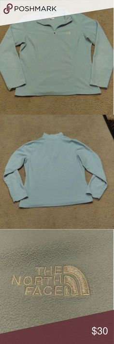 The North Face Half Zip Jacket Used but in EXCELLENT condition The North Face light blue jacket. NO FLAWS NO STAINS Quarter zip Fleece  Fabric: 100% Polyester The North Face Jackets & Coats