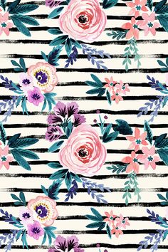 Victoria Floral Stripe by Crystal Walen.  Hand painted flowers on a black and white stripe background.  Hipster chic pattern available in fabric, wallpaper, and gift wrap.