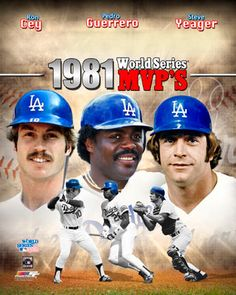 1981 World Series--The LA Dodgers defeat the New York Yankees in 6 games (4-2). Photo: Dodger co-MVPs Ron Cey, Pedro Guerrero, and Steve Yeager.