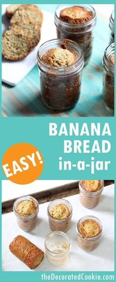 banana bread in a jar -- banana bread with wheat germ and flax seed (or use any of your favorite quick bread recipes) -- video how-tos