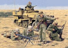 Panzergrenadiers Afrika Korps at El Alamein, 1942 Military Figures, Military Art, Military History, German Soldiers Ww2, German Army, Afrika Corps, Army Drawing, Military Drawings, Ww2 History