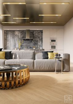 ceiling designs for living room. Sleek SieMatic cabinets play off natural and metallic textures in this  luxurious Moscow apartment 18 Cool Ceiling Designs For Every Room Of Your Home Ceilings