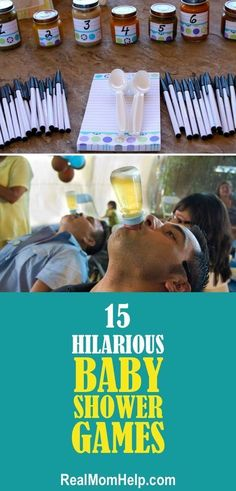 My guests will love playing these hilarious baby shower games for sure! My guests will love playing these hilarious baby shower games for sure! Idee Baby Shower, Baby Shower Games Unique, Shower Bebe, Baby Boy Shower, Superman Baby Shower, Baby Shower Game Gifts, Baby Shower Favors, Baby Shower Decorations, Baby Shower Gifts For Guests